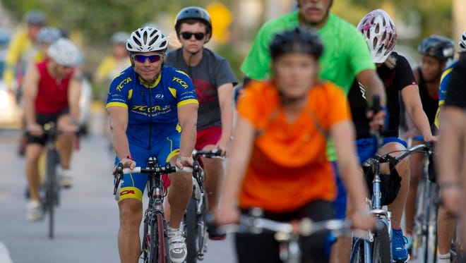 Bicyclists participate in the Ride of Silence in Stuart in this 2013 photo, a national event to raise bicycle safety awareness.