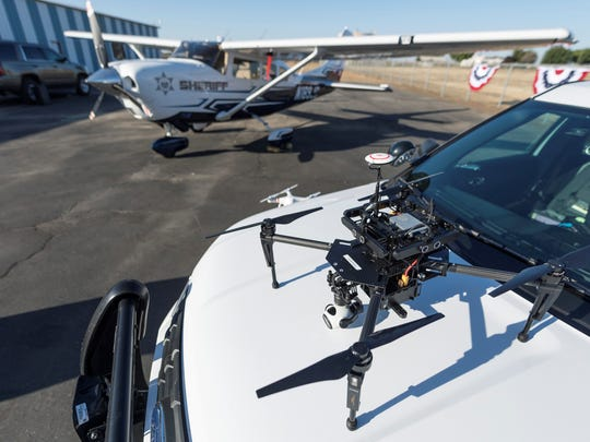 Tulare County Sheriff Department's drones were on display during an open house two new planes for the department's Aviation Support Unit at Porterville Municipal Airport on Wednesday, Sept. 27, 2017.