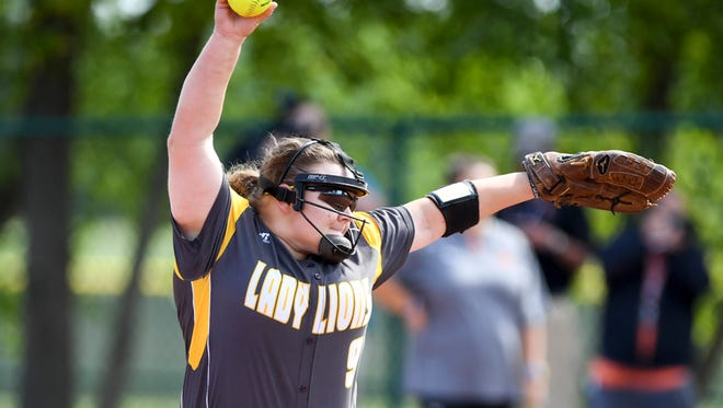 Scotts Hill's Caitlin Mitchell (9) winds up for a pitch during game 9 of the TSSAA Class A State Girl's Softball Tournament, Thursday, May 25, 2017 against Meigs County. Scotts Hill fell to Meigs County, 11-3.