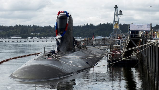 The fast-attack submarine USS Seawolf at Naval Base Kitsap-Bremerton in 2015. Extension of a pier at Bangor would allow the Seawolf and the USS Connecticut to be moved to Bangor.