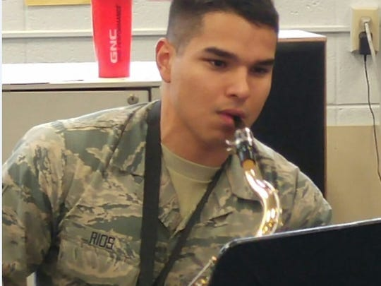 Senior Airman Hazael Rios of the 321st Contingency Response Squadron was invited to play the baritone saxophone.