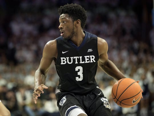 Butler Bulldogs guard Kamar Baldwin (3) controls the