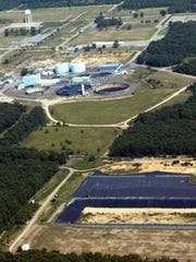 An aerial view of the Ciba-Geigy Superfund site in
