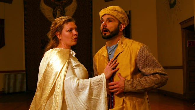 "Kristie Rolape and Gerry Rose in Savage Rose Classical Theatre Company's production of ""Everyman."""
