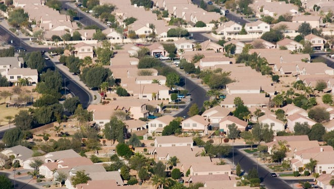 An aerial view of of homes in the town of Gilbert, a suburb of Phoenix, Arizona.