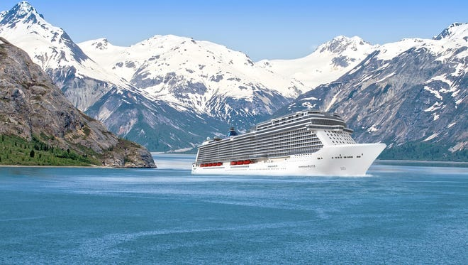 An artist's drawing of the Norwegian Bliss in Alaska. The ship will sail to Alaska after it debuts in 2018.