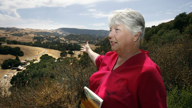 Steinbeck tour guide and expert Carol Robles talks about John Steinbeck's Pastures of Heaven in 2008. This is a overall shot taken from the top of San Benancio Road looking out over the valley below which was the setting for the book.