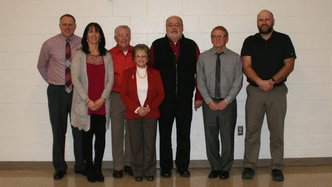 Member of the Berne Union Athletic Hall of Fame are, from left to right: Bob Downour, Sony Downour, Kenny Kistler, Bonnie Kistler, Bill Palmer, Dusty Moran and Dan Campbell.