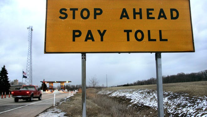 A truck approaches the LaPorte entry plaza at Mile 49 on the Indiana Toll Road on Tuesday, Jan. 24, 2006. (