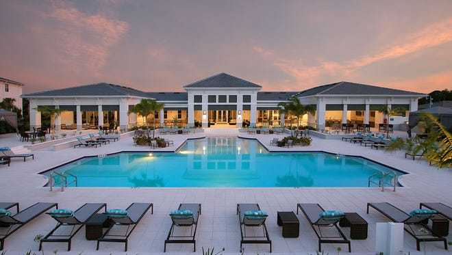The clubhouse and pool at Spectra Apartments in South Fort Myers