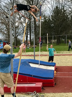 Pleasant's Wyatt Wells won the pole vault at 12-6 during the Marion County Track Meet at Ridgedale last week.