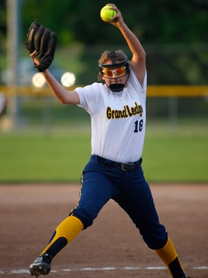 Grand Ledge's Nina Bennett winds up for a pitch against Charlotte Wednesday, May 17, 2017, at Ranney Park in Lansing, Mich.