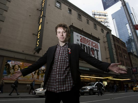 """Delaware native John Gallagher Jr. in front of the marquee at St. James Theatre in New York City in 2009, where starring in """"American Idiot."""""""