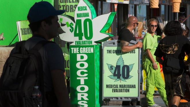 A medical marijuana facility in Venice Beach, Calif, touts its wares, as the state heads toward another vote next year on legalizing the substance.