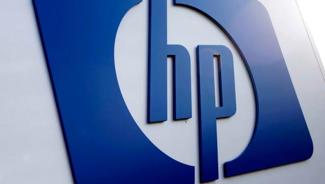 This Feb 21, 2012 file photo shows a Hewlett Packard logo in Frisco, Texas.