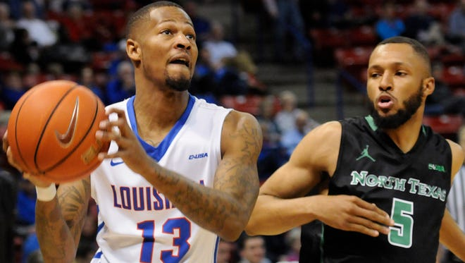 Louisiana Tech guard Jacobi Boykins goes up for a shot Thursday night against North Texas.