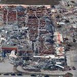 An aerial view of tornado damage at Home Depot in Joplin on Tuesday, May 24, 2011.