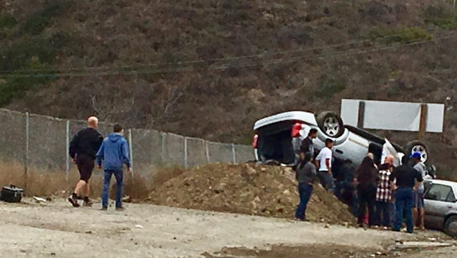 A two car traffic collision on the Conejo Grade near the truck weigh station caused one vehicle to flip onto its roof.