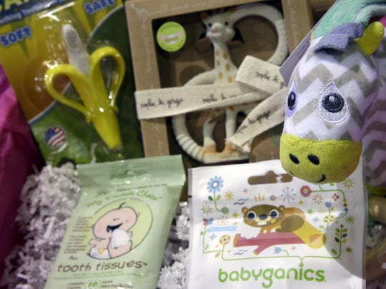 The teething kit by Bump Boxes is displayed at the New York Baby Show.