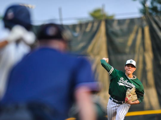 Jack Leiter of Delbarton delivers a pitch against St. Augustine during the NJSIAA Non-Public A baseball championship game at Veterans Park in Hamilton on June 9, 2018.