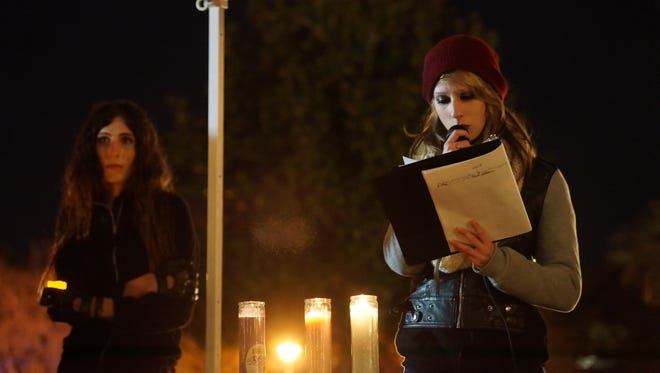 A student speaks at Wednesday night's vigil for Leelah Alcorn, a transgender teen who committed suicide.