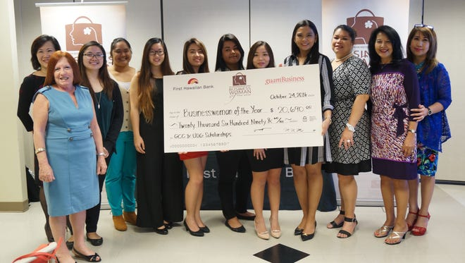 In this file photo, First Hawaiian Bank and Guam Business Magazine awards $26,948 to Guam and Northern Mariana Islands recipients of the First Hawaiian Bank and Guam Business Magazine Businesswoman of the Year scholarship.