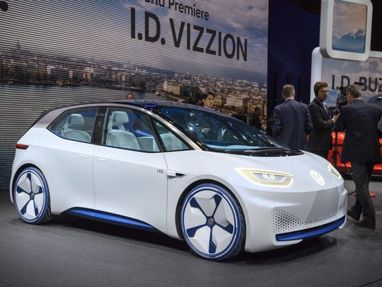 The New Volkswagen I.D. is presented during the press day at the 88th Geneva International Motor Show in Geneva, Switzerland, Tuesday, March 6, 2018.