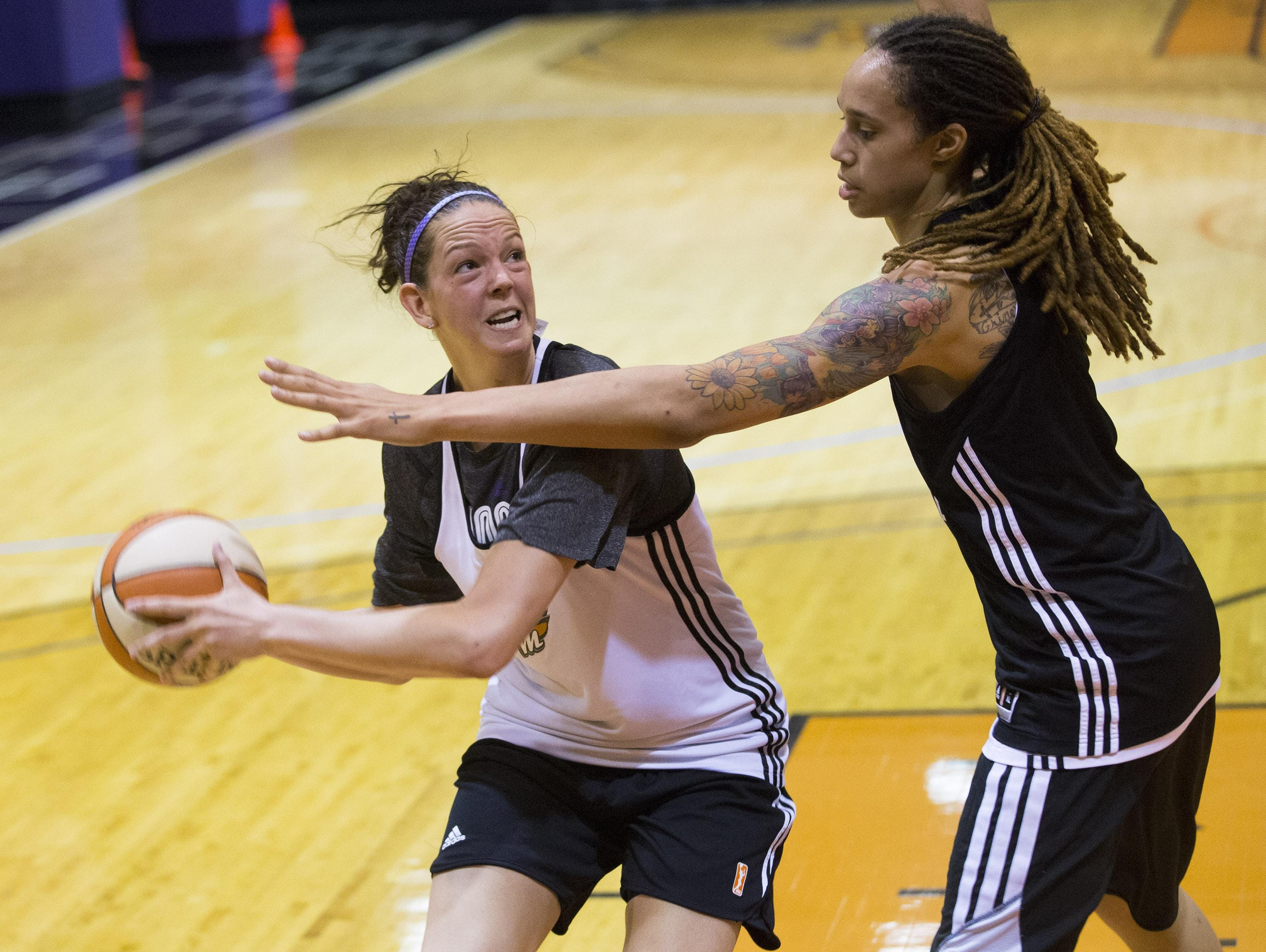 Becca Tobin, left, and Brittney Griner Phoenix Mercury during practice on May 25.