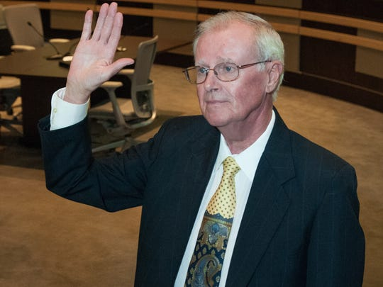 Las Cruces City Councilor Jack Eakman, a retired hospital administrator, is sworn in to the District 4 seat on Monday at City Hall. Eakman replaces Nathan Small.