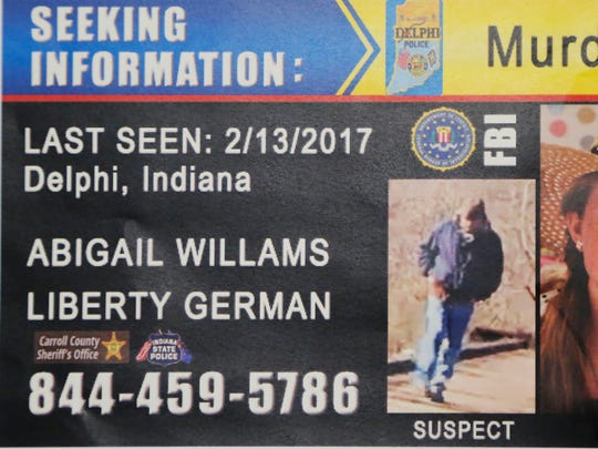 Police handed out this flier Monday to passing motorist, hoping that someone might remember something from Feb. 13. That's when Libby German and Abby Williams were killed near the Monon High Bridge trail east of Delphi.