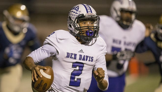 Reese Taylor, quarterback for Ben Davis vs. Cathedral High School, from Tech High School, Indianapolis, Friday, Nov. 11, 2016.