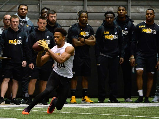 Mar 21, 2019; Columbia, MO, USA; Missouri Tigers wide receiver Emanuel Hall (84) catches a pass during Missouri Pro Day at Devine Indoor Pavilion. Mandatory Credit: Jeff Curry-USA TODAY Sports