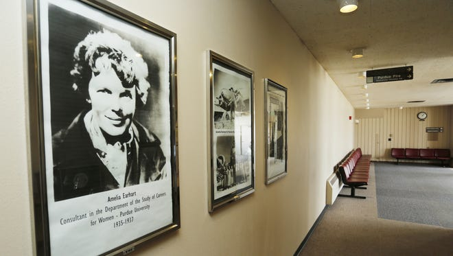 Photographs of Amelia Earhart are posted Tuesday, April 26, 2016, at Purdue University Airport. Commercial service out of the airport was discontinued years ago and is unlikely to return anytime soon.