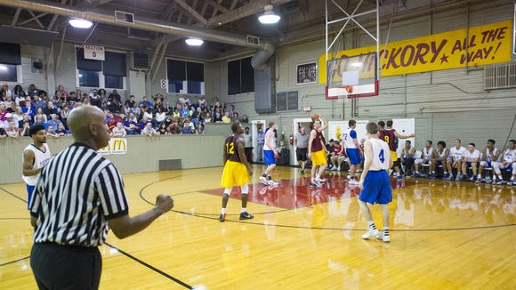 """FILE – The Historic Hoosier Gym Committee of Knightstown, Ind., Hoosier Basketball Magazine and Pacesetter Sports of Terre Haute, host """"Hoosiers"""" Reunion All-Star Classic June 3, 2016."""