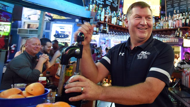 "Starboard co-owner Steve ""Monty"" Montgomery makes an Orange Crush at his Dewey Beach bar. Next year will mark his 20th year of ownership."