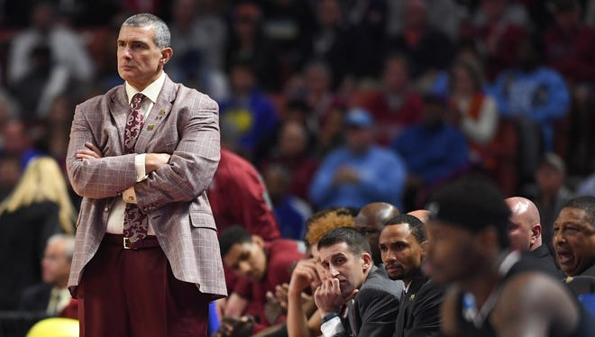 USC Basketball head coach Frank Martin stands near the team bench during the Gamecocks' win over Duke. Sunday, March 19, 2017