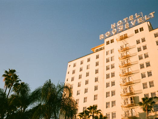 The Hollywood Roosevelt hotel sits along the Hollywood