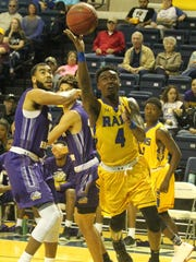 "Angelo State University's Daron ""Buddy"" Mims puts up"