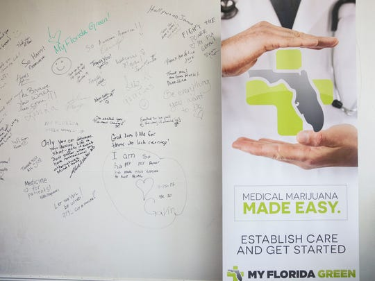Messages from patients at My Florida Green are written on the office wall in Naples on Monday, March 26, 2018.