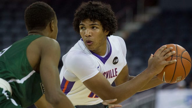 University of Evansville's Dru Smith (12) looks for a pass as the University of Evansville Purple Aces take on the Binghamton University Bearcats at the Ford Center in Evansville, Ind., on Saturday, Nov. 18, 2017.