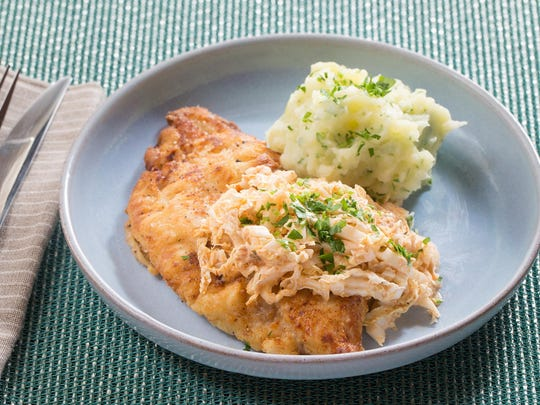 Crispy catfish and parsley mashed potatoes with spicy cajun slaw from Blue Apron.