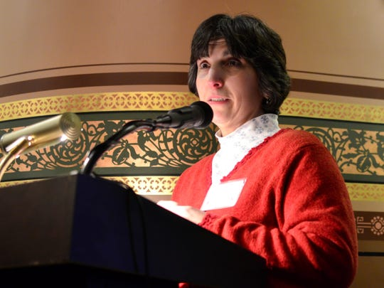Carol Brigham, of Whiting, speaks about the anniversary of the Vermont Supreme Court's landmark Brigham decision in Montpelier on Feb. 7, 2017.