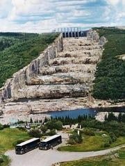 Under construction: Robert Bourassa Dam, at top center,