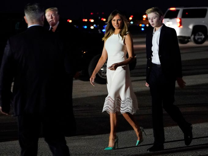 First lady Melania Trump and son Barron arrived in