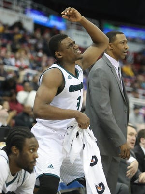 UWGB guard Khalil Small reacts to a call during the final seconds of a 79-70 loss to UIC in the Horizon League tournament on Sunday at Joe Louis Arena.