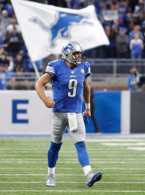 Detroit Lions quarterback Matthew Stafford pumps his fist during the fourth quarter against the Washington Redskins at Ford Field.