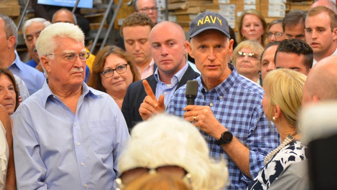 Gov. Rick Scott and First Lady Ann Scott made a campaign stop at Classic Wood Flooring in Suntree April 11, where approximately 150 supporters showed up. Gov. Scott announced April 9 that he is running for the U.S. Senate.