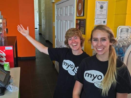 Ryanne Nester, left, and Haley Koran of Salinas great folks at the Salinas MYO Frozen Yogurt Shop