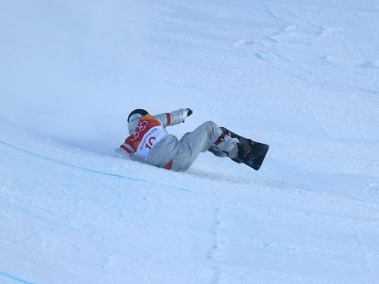 Kelly Clark (USA) falls in the women's halfpipe event.