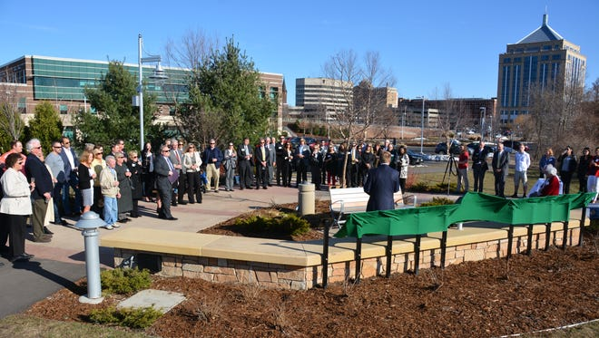 Community members gather April 25 for the dedication of Junior Achievement's new Champions of Business Inspiration Plaza in Wausau.